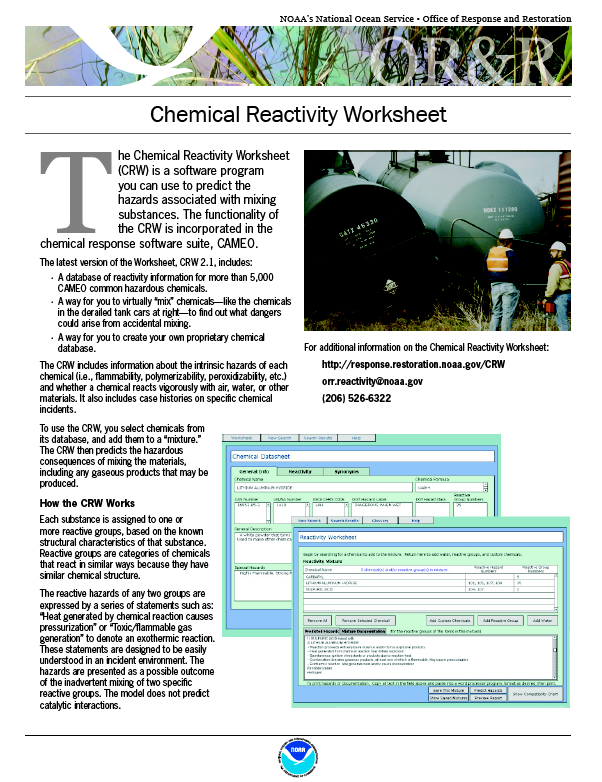 The Chemical Reactivity Worksheet (CRW) is software that you use to ...